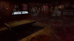 A dirty bar setting from Prominence Poker with a pool table and a poker table.