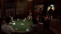 A group of Prominence Poker characters playing poker in a dark room.
