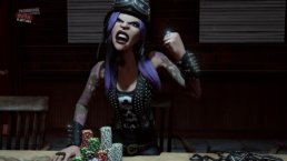 An animated women from Prominence Poker making an angry face while playing poker.