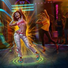 A screenshot of Zumba Fitness showing three women posing in a dance move.