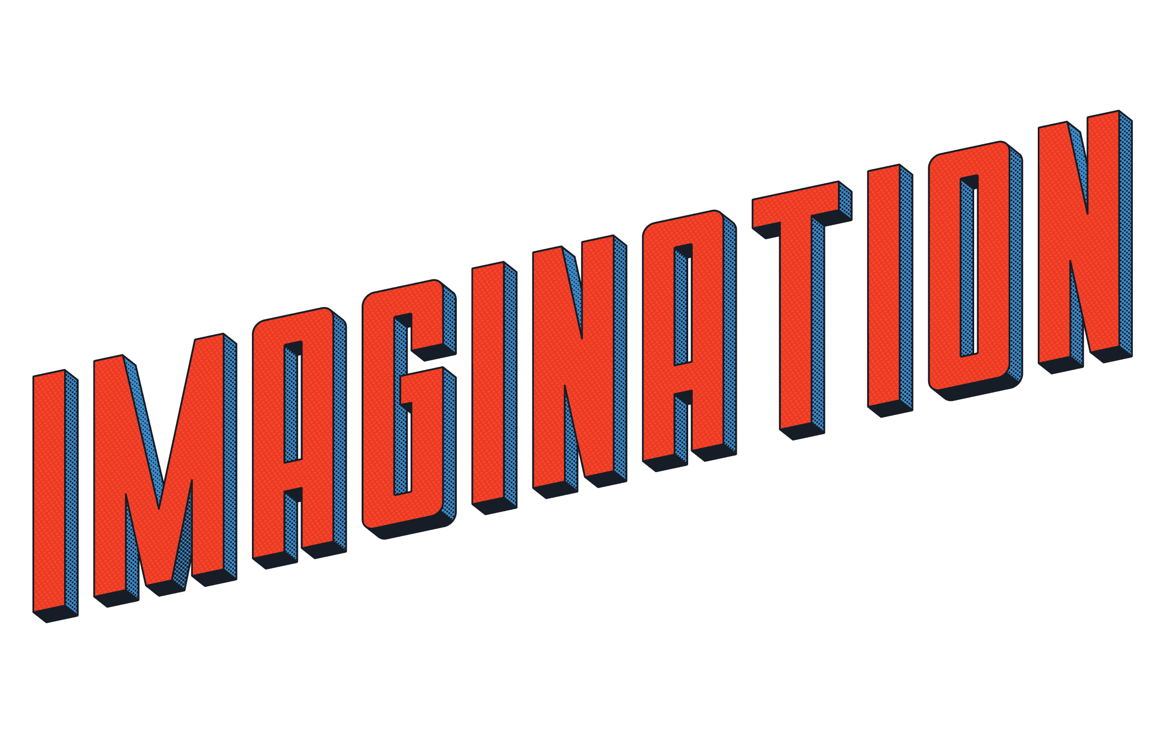 Imagination in bold red comic book text