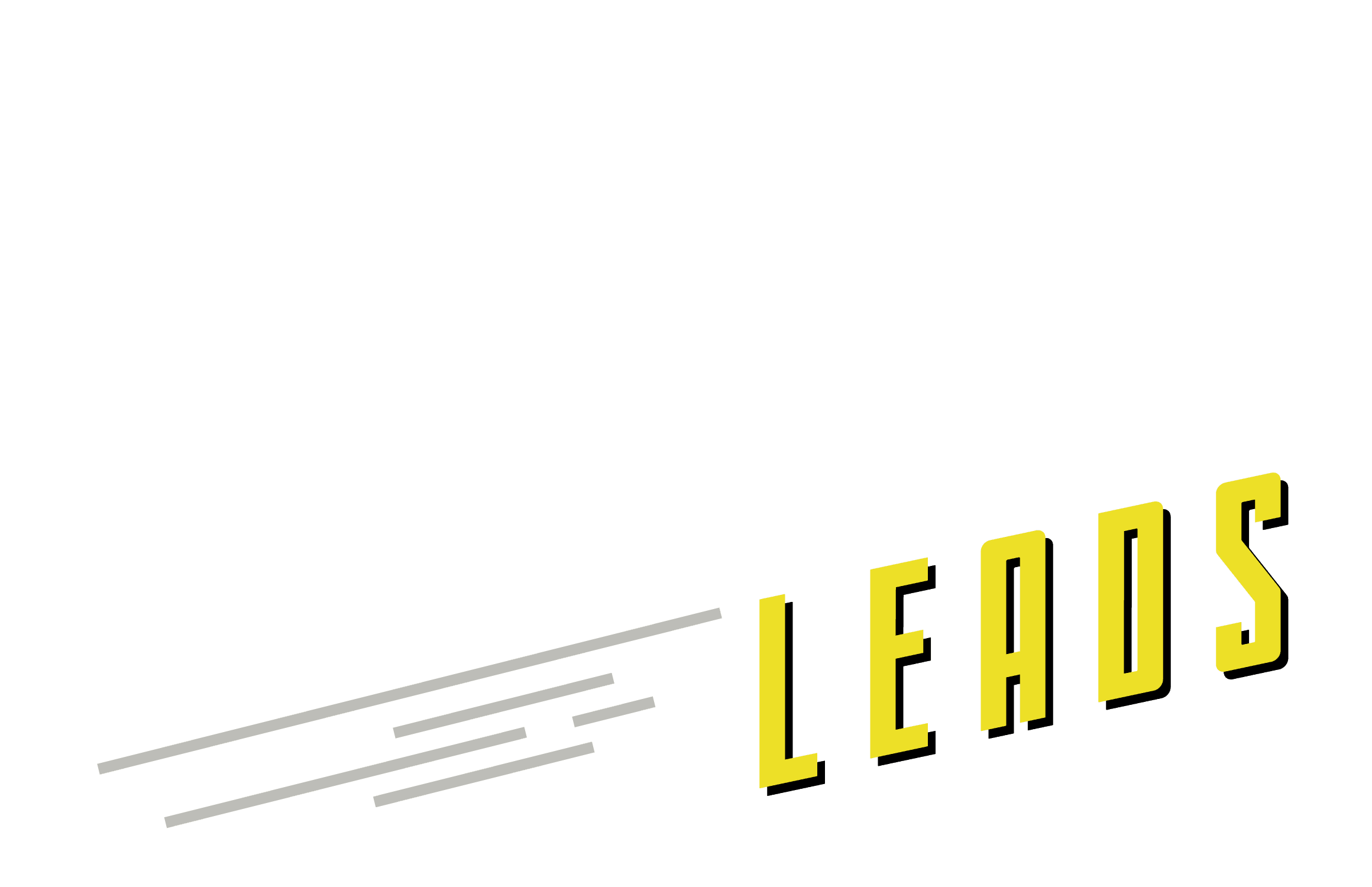 Leads in bold yellow comic book text with dashing lines to the left